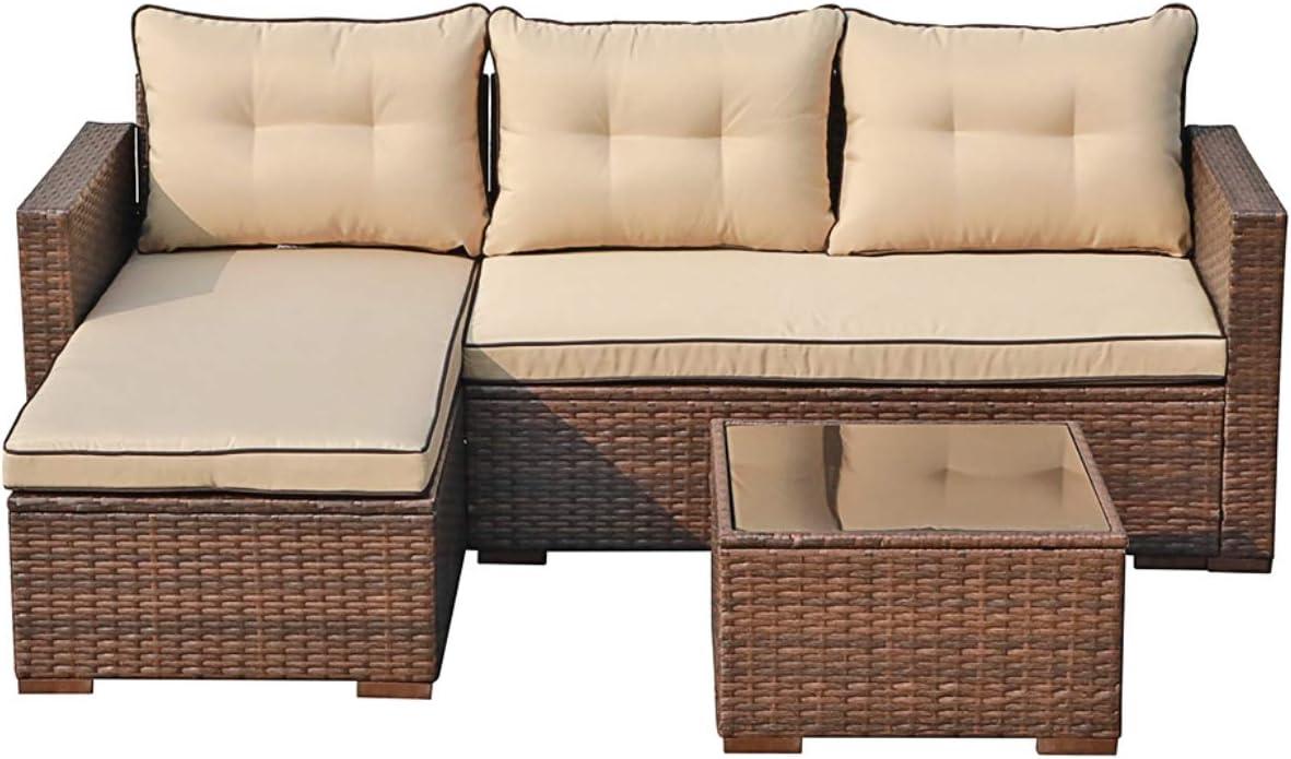 JOIVI Patio Conversation Set 全国一律送料無料 PE Furniture Rattan 日本製 Outdoor Wicker