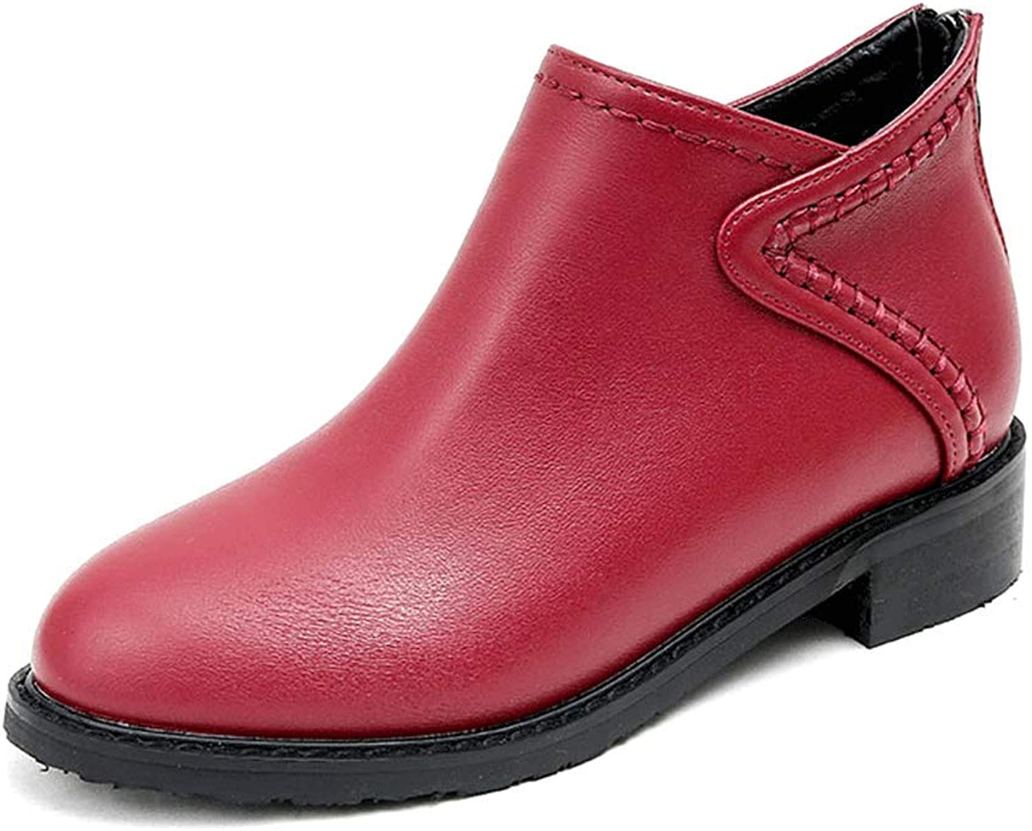 LIURUIJIA Women's Round Toe Ankle High Running-on Slip-on Boots DX6-918-26