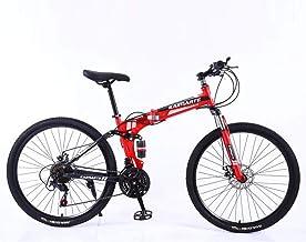 Nverlnds 24 inch Mountain Bike, Full Suspension Folding Bike Non-Slip Bike for Adults Sport Wheels Disc Brake Aluminum Fra...
