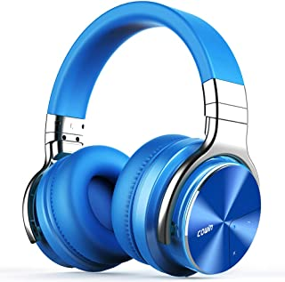 COWIN E7 PRO [Upgraded] Active Noise Cancelling Headphones Bluetooth Headphones with Microphone/Deep Bass Wireless Headphones Over Ear, 30 Hours Playtime for Travel/Work, Blue