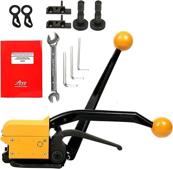 Yaetek Steel Strapping Tool A333 Manual Strapping Tool 1 2Inch 5 8Inch 3 4Inch Steel Straps Banding Sealless Combination Tool