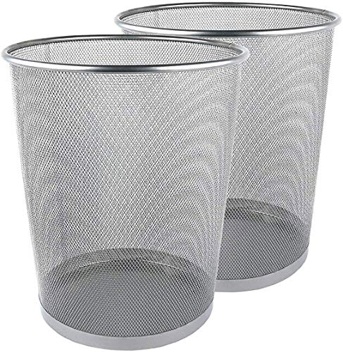 Zuvo Papelera de papel de malla metálica redonda plateada (2 unidades), color plateado