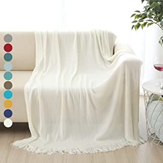 """ALPHA HOME Soft Throw Blanket Warm & Cozy for Couch Sofa Bed Beach Travel - 50"""" x 60"""", Ivory"""
