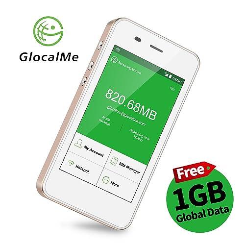 GlocalMe G3 Routeur Mobile 4G avec 1Go Données Initiales Globales, 5350mAh Powerbank, Dual Nano SIM, Sans Itinérance Plus de 100 Pays et Régions, 4G Wifi Hotspot Portable pour Voyage - OR