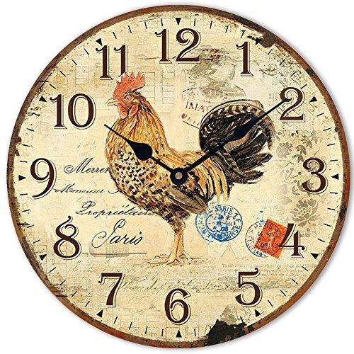 HUABEI Reloj péndulo Pared silencioso, Estilo Vintage Gallo Estampa Paris 12Inch