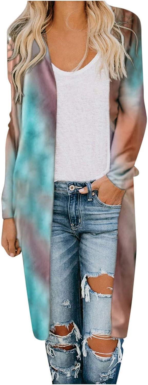 Forwelly Women's Fashion Tie Dye Print Long Sleeve Cardigan Long Style Jacket Open Front Coat