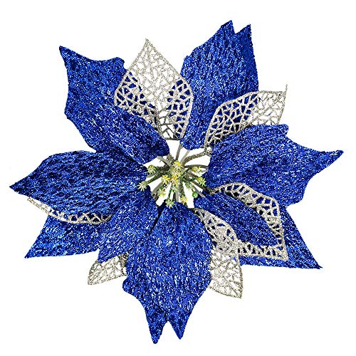 YOSICHY Glitter Christmas Poinsettia Flowers Artificial Xmas Tree Ornaments Decorations with Stems Pack of 12(Silver &Blue)