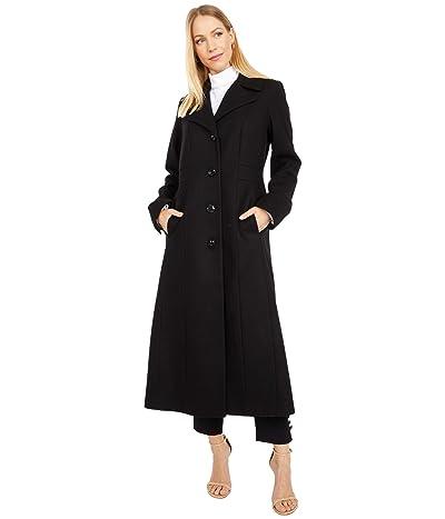 London Fog Long Wool Button Front Coat (Black) Women