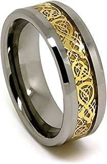 Blue Chip Unlimited 8mm Polished Tungsten Wedding Band with Golden Colored Celtic Dragon Inlay (Sizes 4-17)