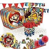 kit n 63 addobbi festa compleanno super mario run videogioco luigi fungo fiore decorazioni cialda per torta bambini