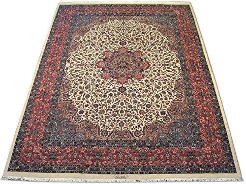 Pak Persian Rugs Handgeknüpfter Kashan Teppich, Cremefarben, Wolle, Large, 306 X 426 cm