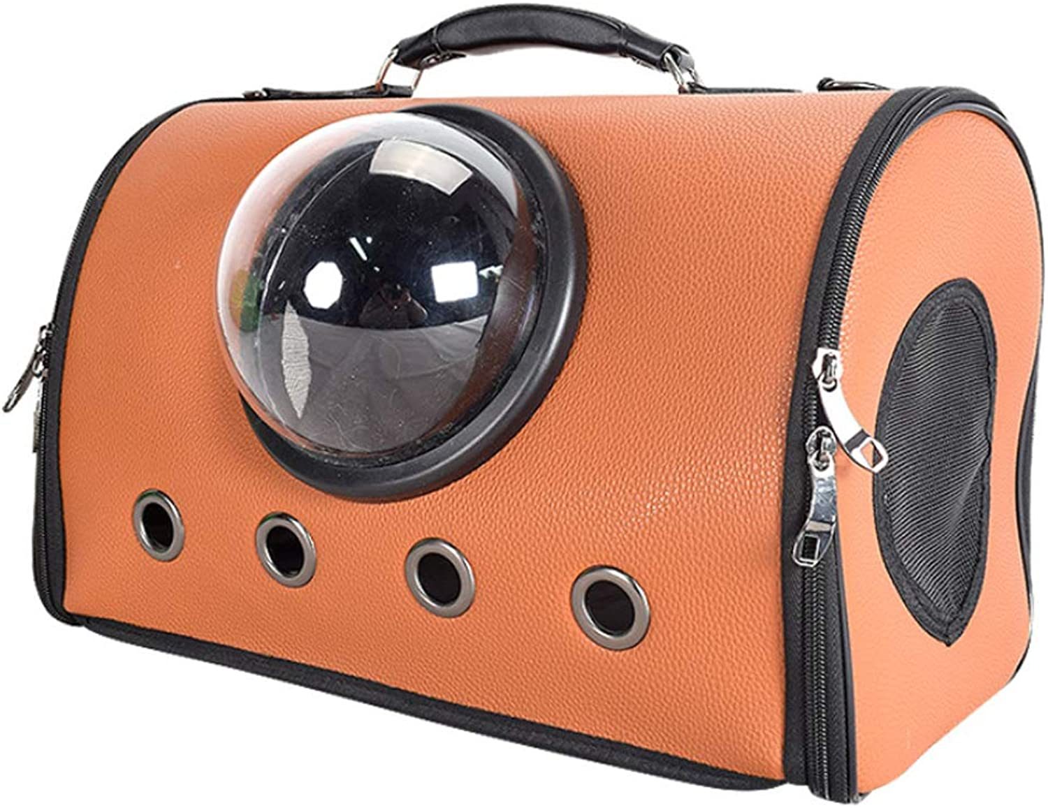 NDY Pet Supplies Out Yellow Brown orange Backpack Small Dog Breathable Portable Pu Bag Portable Cat Bag,orange