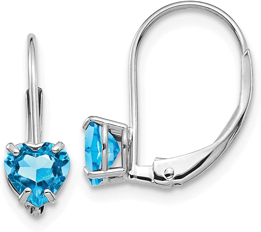 14k White Gold 5mm Heart Blue Topaz Leverback Earrings Lever Back Birthstone December Love Drop Dangle Gemstone Prong Fine Jewelry For Women Gifts For Her