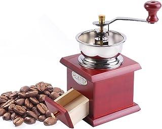 Prima Manual Molinillo de café Diseño Retro del café Mano Molino del Ministerio del Interior de la Cocina de la Herramienta de Pulido Brewing Esencial (Color : Red Wooden)