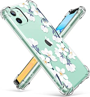 GVIEWIN iPhone 11 Case,Clear Flower Design Soft&Flexible TPU Ultra-Thin Shockproof Transparent Bumper Protective Floral Cover Case for iPhone 11 6.1 inch 2019 (Windflower/White)