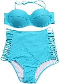 2 PC Halterneck Push up Padded Bikini Top Highwaist Ladder Cut Out Side Strappy Bikini Bottom Swimsuit Set