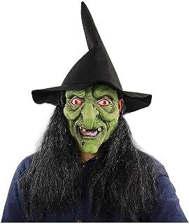 ZJMIYJ Halloweenmask, halloween kostym fest skrämmande skräck latex gammal häxa huvudmask hela huvudmasker för halloween k...