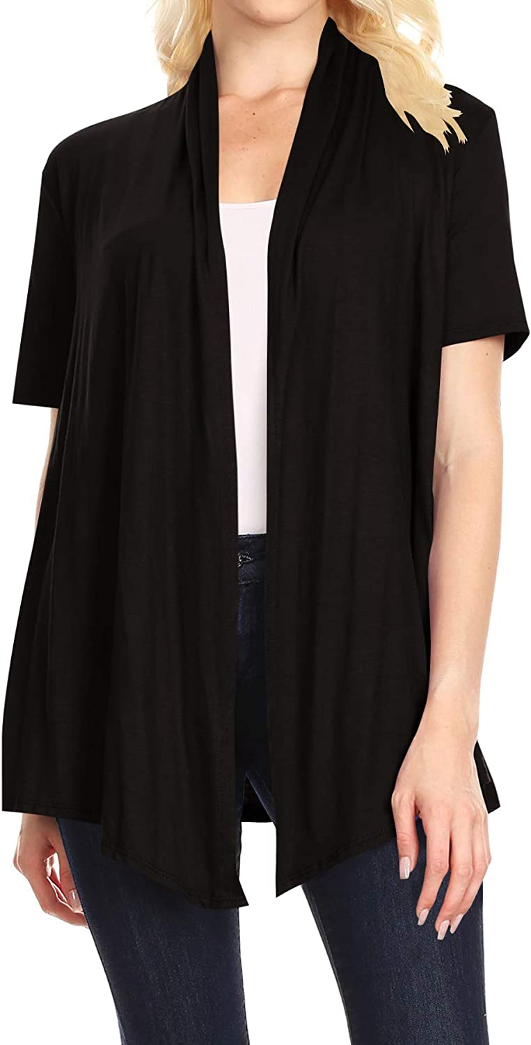 Women's Basic Short Sleeve Open Front Casual Comfy Office Work Wear Solid Cardigan