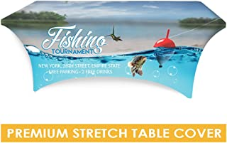 Premium trade show stretch table cover 6 feet trade show table cloth with custom print, trade show table cover
