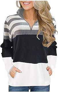 SONIGER ʕ•ᴥ•ʔ Womens Casual Lapel Stripe Long Sleeve Half Zip Shirt Pocket Sweatshirt Stand Collar Sport Blouse Tops