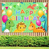 Dinosaur Happy Birthday Party Yard Sign Banner, Cartoon Triceratops, pterosaurs, long-necked dragons, stegosaurus Theme for Birthday Party Props Wild Forest Dinosaur Backdrop Background Party Supplies Decorations, Indoor Outdoor 72x48 Inch