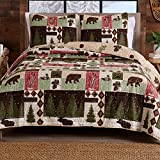 3-Piece Reversible Rustic Lodge Bedspread Full / Queen Size Quilt with 2 Shams. All-Season Quilt Set. Wilder Collection (Full / Queen)