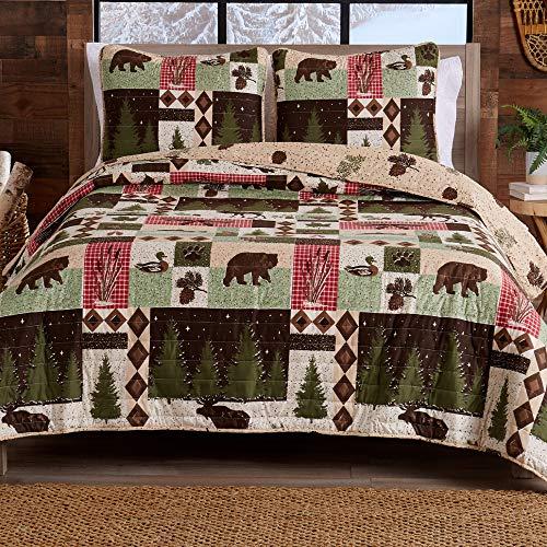Great Bay Home Wilder Collection Wilder Collection Wende-Tagesdecke, rustikal, für Queen-Size-Betten, mit 2 Kissenbezügen, 3-teiliges Set