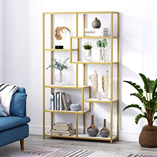 Tribesigns Bookshelf Bookcase, Gold 8-Open Shelf Etagere Bookcase with Faux Marble, Modern Book Shelves Display Shelf Storage Organizer for Home Office