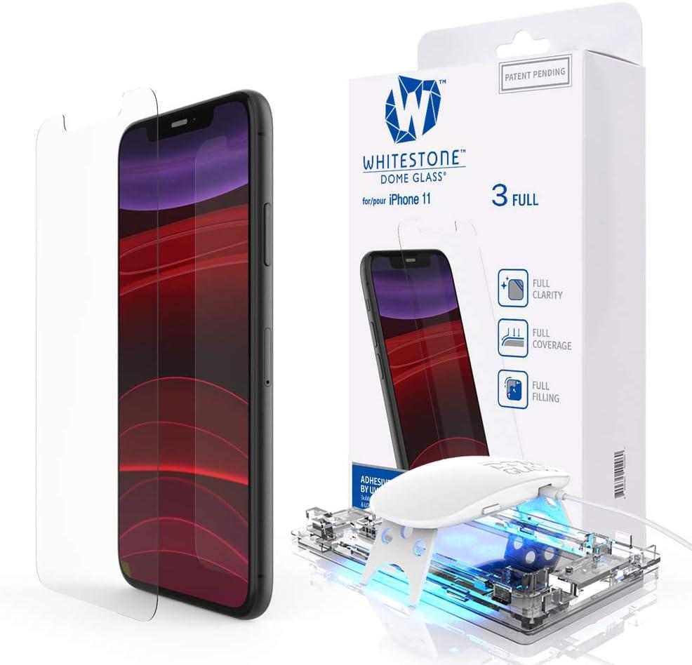 Dome Glass iPhone XR Protector Pantalla, 3D Borde Curvo Cristal Templado [Tecnología de Dispersión Líquida] Fácil de Instalar Kit por Whitestone para Apple iPhone XR