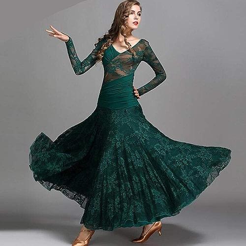 Liu Sensen 2018 Latin Dance Robe Belly Dance Jupe Deep vert Lace Manches Longues Robe Volumineuse Jupe Professionnelle Danseurs Costume Grande Taille XL 2XL