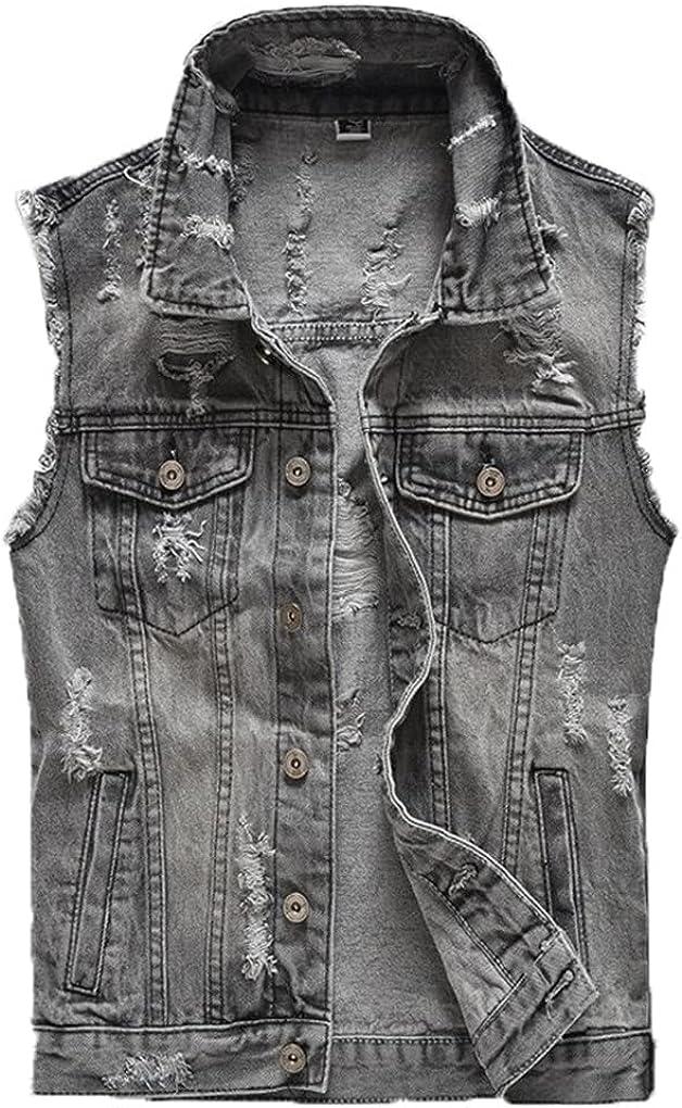 Spring Autumn Vintage Mens Denim Vest Male Retor Sleeveless Jackets Men Ripped Hole Jean Waistcoats Clothing