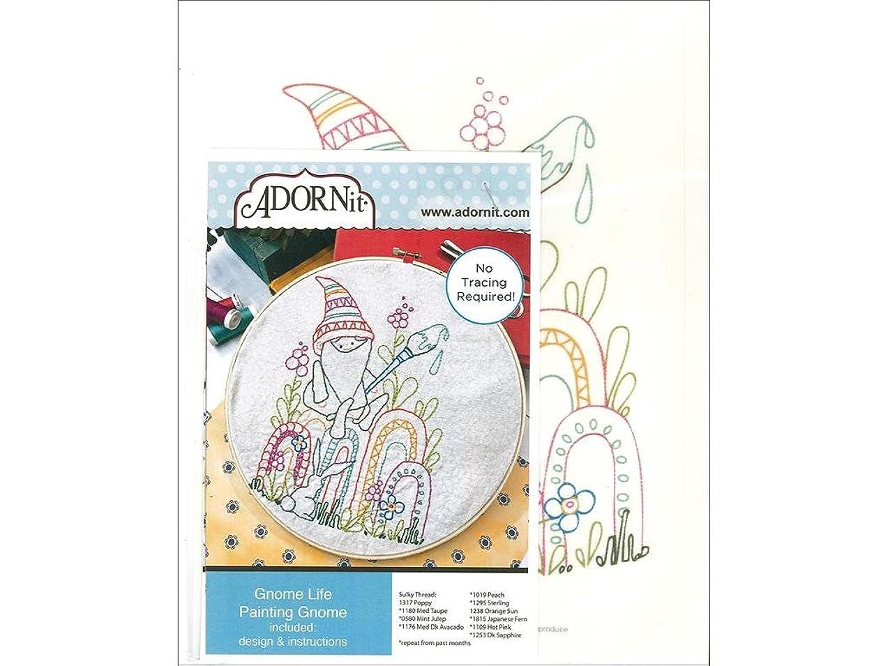 ADORNit Artplay Fabric Monthly Stitchery Gnome Life March