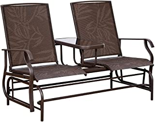 PatioPost Outdoor 2 Person Patio Mesh Fabric Loveseat Glider Chair w/Center Table,JA