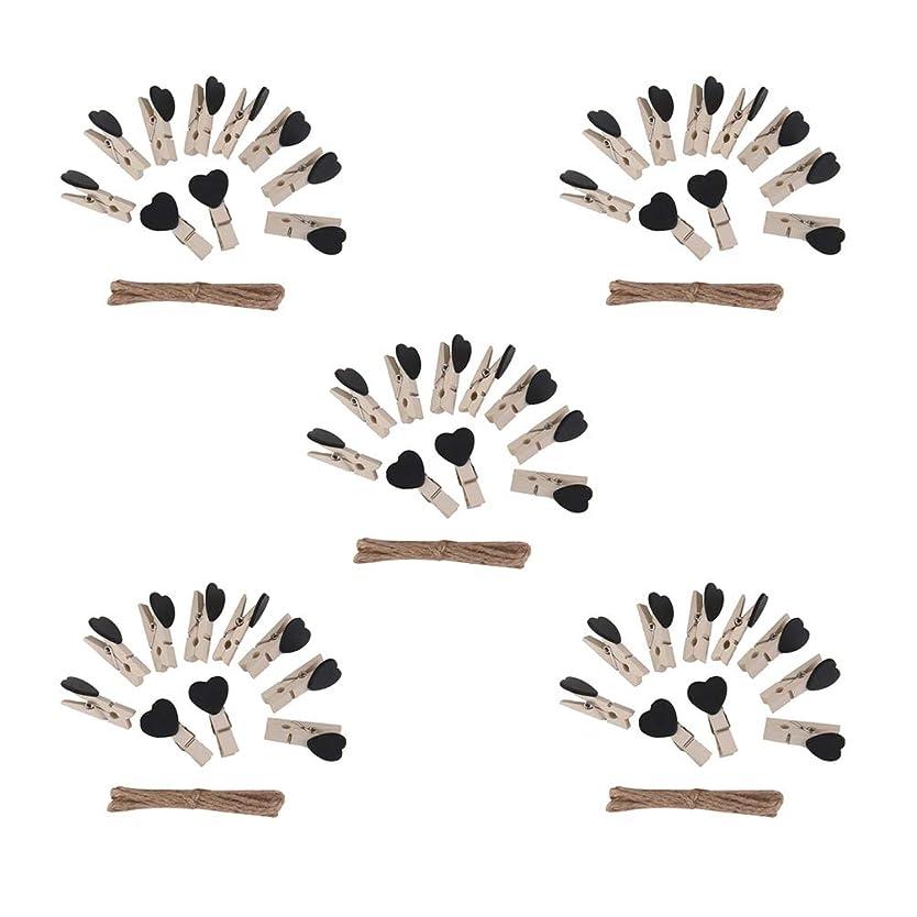 薬剤師きらめき同志Vosarea 50ピース木製洗濯はさみ木製ハートフォトクリップクラフトスナッククリップ付き5ピースロープウェディングホームスクールインテリアクリスマスホリデーパーティー用品好意グッディバッグフィラー