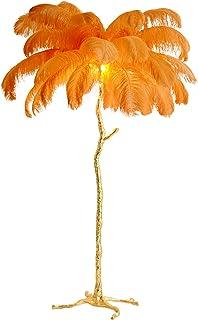 DELONGKE Lampadaire, lampadaire Industriel pour Salon, Lampe sur Pied Moderne à LED Plume d'autruche avec Lampe de Lectur...