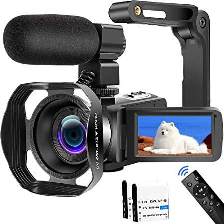 4K HD Video Camera 48MP 60FPS WiFi Vlogging Camera 18X Digital Camera IR Night Vision Camcorder Video Camera for YouTube with Handheld Stabilizer, Microphone and Remote Control