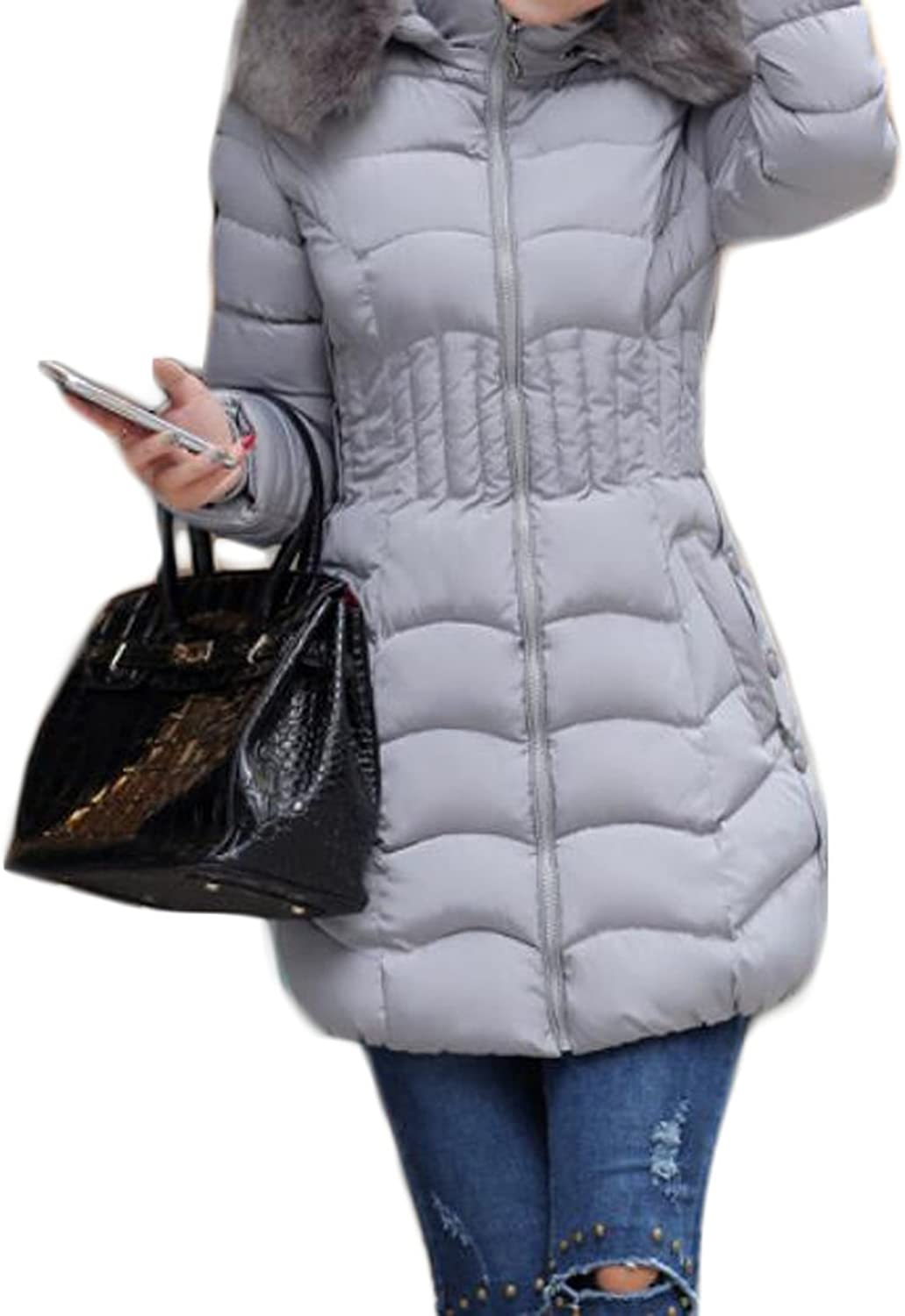 BYWX Women's Zip Front Faux Fur Hoodie Quilted Padding Thick Jacket Outwear