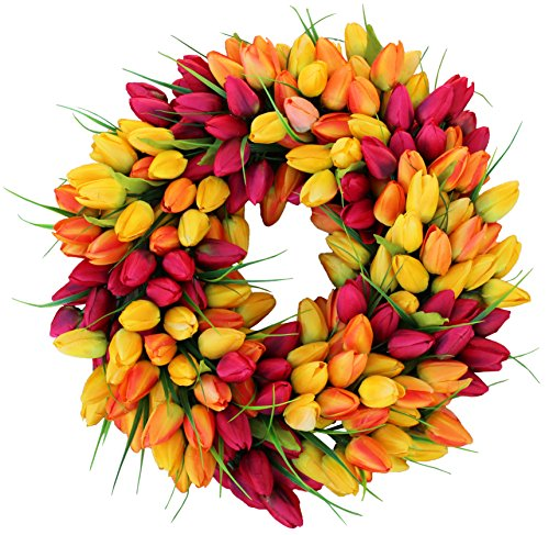 The Wreath Depot Blush Tulip Front Door Wreath 19 Inch, Stunning Spring Door Wreath, Beautiful Gift Box Included
