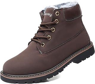 gracosy Stivali da Uomo Invernali, Scarpe da Neve Pelle più Velluto Boots Morbido di Piatto Calzature Sneaker Impermeabili...