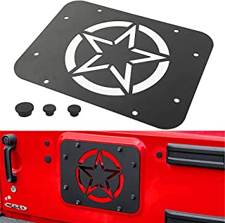 YOCTM for Jeep Wrangler JK JKU Tailgate Spare Tire Delete Plate 2007-2018 Blank Plate Tramp Stamp (Five-Pointed Star) Parts Accessories Car Styling