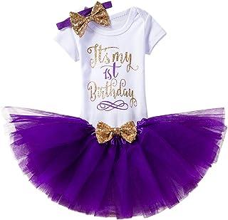 FYMNSI Baby Girls It's My 1st/2nd Birthday Cake Smash Romper+Tutu Skirt +Headband 3Pcs Outfits