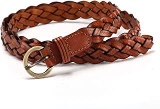 Women's Fashion Thin Braided Leather Belt For Dress with Buckle 20mm