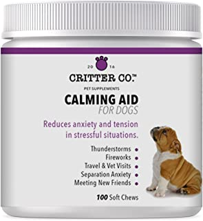 Critter Co Calming Treats for Dogs with L-Tryptophan - 100 Count - Soft Chew Calming Aid Helps Soothe Anxiety from Thunderstorms, Fireworks, Separation Anxiety, and More - Made in USA