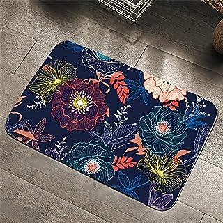 OPLJ Blomma matta akvarell konst mjuk matta halkfri golvmatta absorberande blad blå sovrum dörrmatta A16 50 x 80 cm