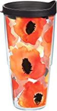 Tervis 1243378 Watercolor Poppy Tumbler with Wrap and Black Lid 24oz, Clear