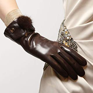 SHENTIANWEI Ladies Leather Gloves Balls Fashion Winter Gloves (Color : Brown, Size : L)
