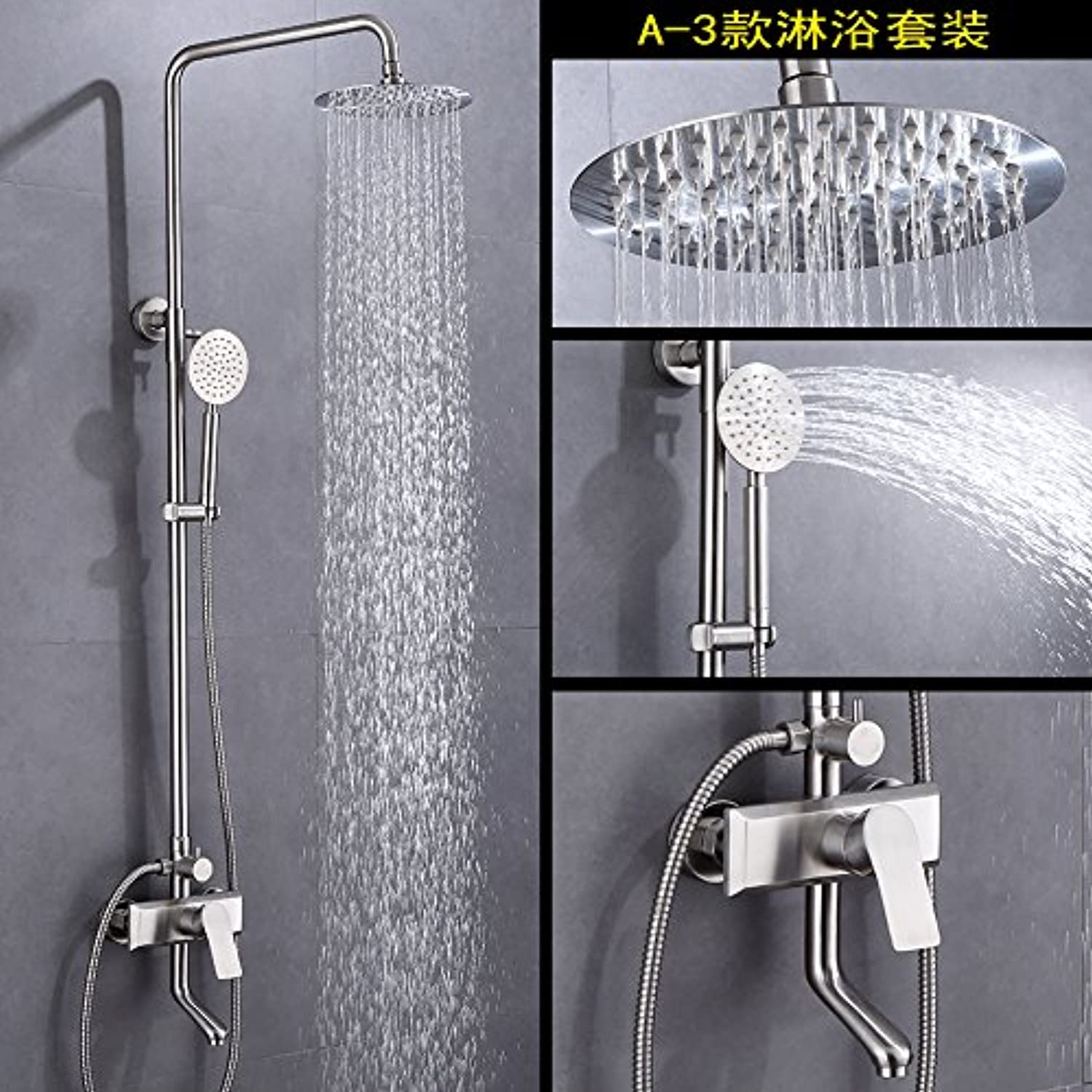 SUHANG It Is Equipped With Wall Hanging Hot And Cold Faucet Shower 304 Stainless Steel Lifting Shower Rain Shower Nozzle Bathroom Double Shower Faucet- 3