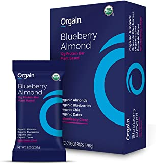 Orgain Organic Simple Protein Bars, Blueberry Almond - Vegan, Plant Based, 8g Dietary Fiber, Dairy Free, Gluten Free, Soy Free, Lactose Free, Kosher, Non-GMO, 2.05 Ounce, 12 Count