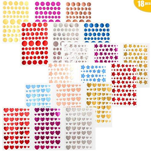 18 STKS Glitter Stickers Zelfklevende, Liefde Ronde Ster Vorm Stickers Zelfklevende Letters Hot Stempelen voor Letter Gift Labels Kunst Craft Wenskaart voor Huis en Kerstmis Decoratie Art DIY