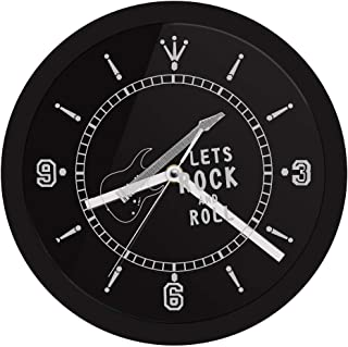 YJSMXYD Wall Clocks Lets Rock N Roll Neon Music Instrument Guitar Ative with Color Changing Led Light Mute Easy to Read Large Numbers Living Room Bedroom Office Hotel Bar